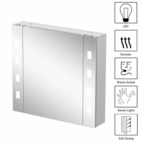 Modern Bathroom Mirror Cabinet LED Illuminated Wall Mounted Demister Switch IP44