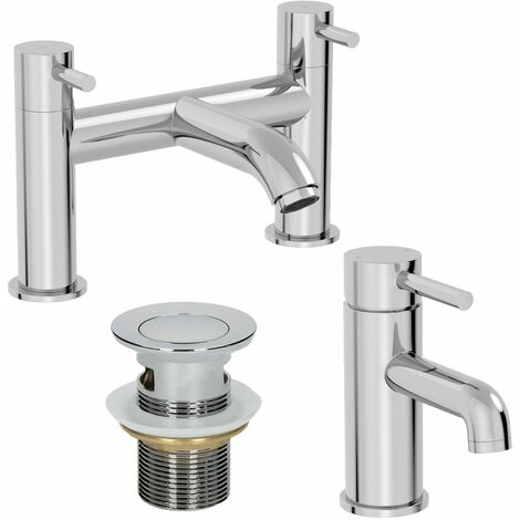 Modern Bathroom Mono Basin Mixer Bath Filler Tap Set Basin Waste