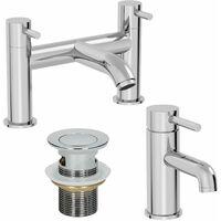 Modern Bathroom Mono Basin Mixer Bath Filler Tap Set Basin Waste