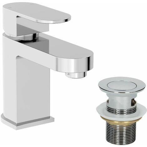 Modern Bathroom Mono Basin Mixer Tap Slotted Waste Chrome Lever