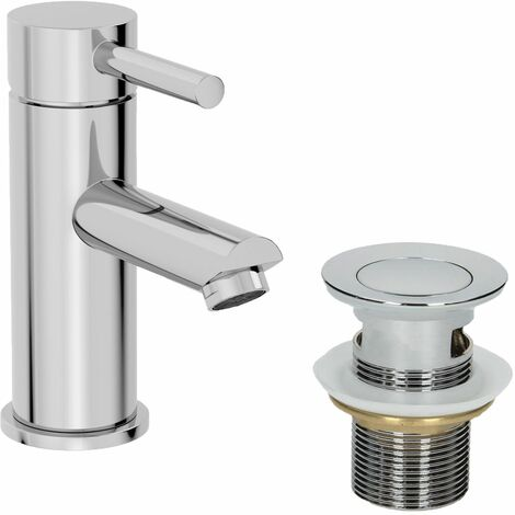 Modern Bathroom Mono Basin Mixer Tap Waste Single Lever Chrome