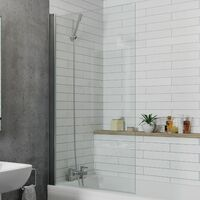Modern Bathroom Over Bath Shower Screen Square Chrome 800mm Reversible 6mm Glass