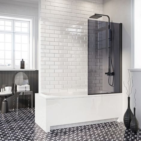 Modern Bathroom Over Bath Shower Screen Square Edged 800mm Black 6mm Tough Glass