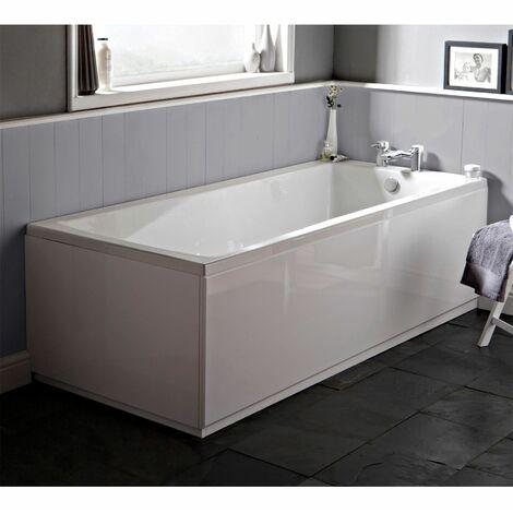 Modern Bathroom Single Ended Bath 1500 x 700mm Side Panel Square Bathtub Acrylic