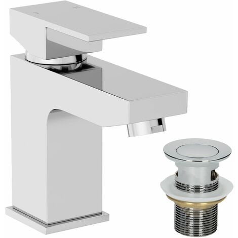 Modern Bathroom Square Mono Basin Mixer Tap Waste Chrome