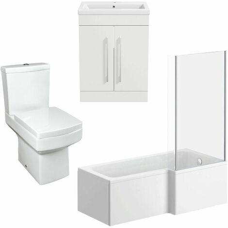 Modern Bathroom Suite 1600 RH L Shape Bath Screen Toilet Basin Vanity Unit White
