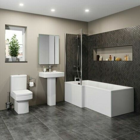 Modern Bathroom Suite 1600mm LH L Shaped Bath Screen Toilet Basin & Pedestal