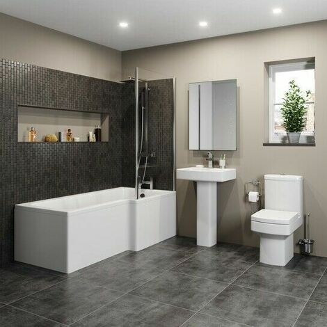 Modern Bathroom Suite 1600mm RH L Shaped Bath Screen Toilet Basin & Pedestal