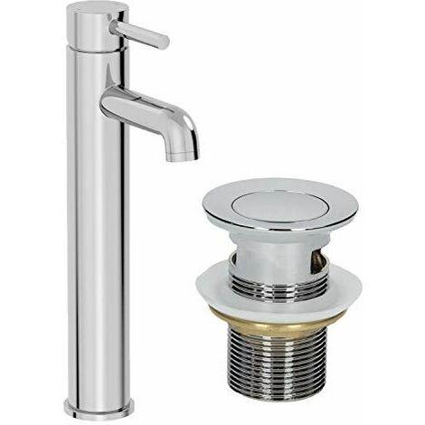 Modern Bathroom Tall Mono Basin Mixer Tap Single Lever Chrome