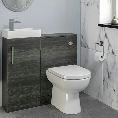 Modern Bathroom Toilet & Basin Sink Vanity Unit 900mm Charcoal Finish