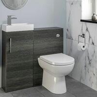 Modern Bathroom Toilet & Basin Sink Vanity Unit 900mm Charcoal Finish