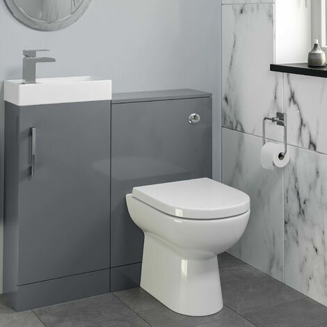 Modern Bathroom Toilet & Basin Sink Vanity Unit 900mm Gloss Grey