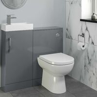 Modern Bathroom Toilet & Basin Sink Vanity Unit 900mm Gloss Grey
