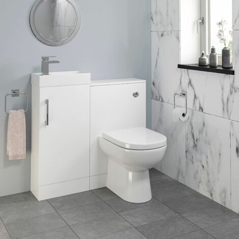 Modern Bathroom Toilet & Basin Sink Vanity Unit 900mm White