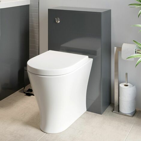Modern Bathroom Toilet Unit Concealed Cistern 500mm WC BTW Soft Close Seat Grey