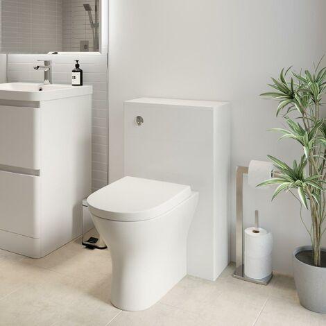 Modern Bathroom Toilet Unit Concealed Cistern 500mm WC BTW Soft Close Seat White