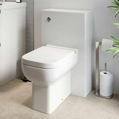 Modern Bathroom Toilet Unit Concealed Cistern BTW Soft Close Seat White Amelie