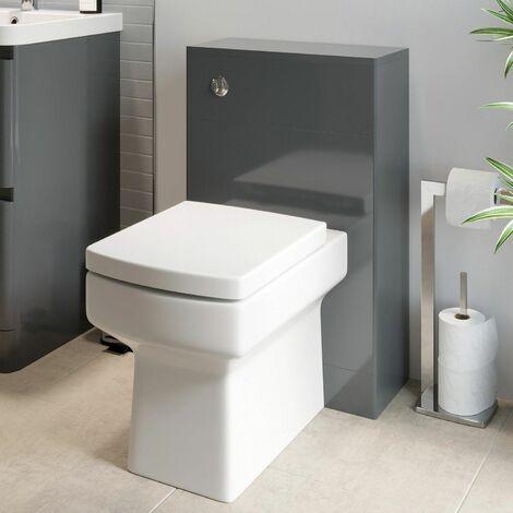 Modern Bathroom Toilet Unit Concealed Cistern Royan WC BTW Soft Close Seat Grey