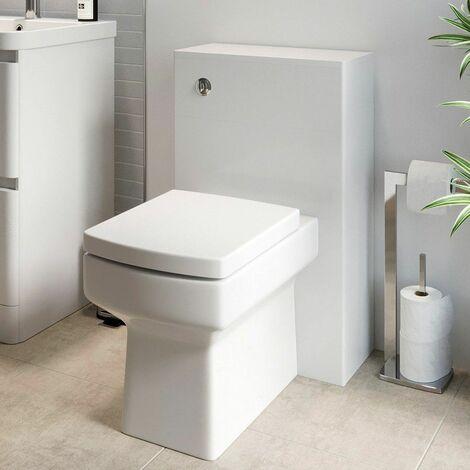Modern Bathroom Toilet Unit Concealed Cistern Royan WC BTW Soft Close Seat White