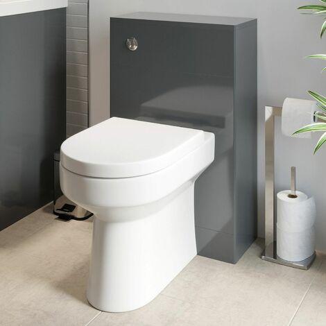 Modern Bathroom Toilet Unit Concealed Cistern WC BTW Soft Close Seat Grey 500mm