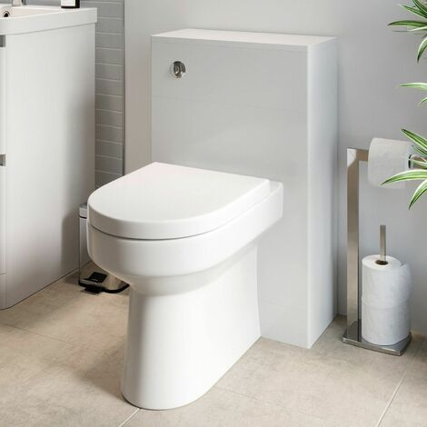 Modern Bathroom Toilet Unit Concealed Cistern WC BTW Soft Close Seat White 500mm