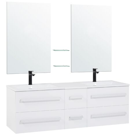 Modern Bathroom Vanity - with Double Sink and Mirrors - MADRID White