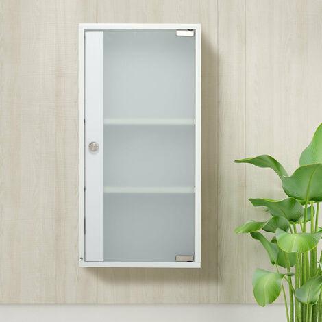 Modern Bathroom Wall Cabinet with Frosted Glass Door Wooden Floating Cupboard,1 Door