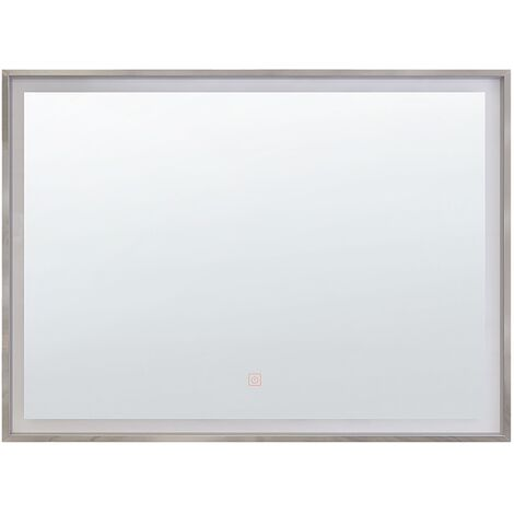 Modern Bathroom Wall Mirror with Led Rectangular 60 x 80 cm Silver Argens