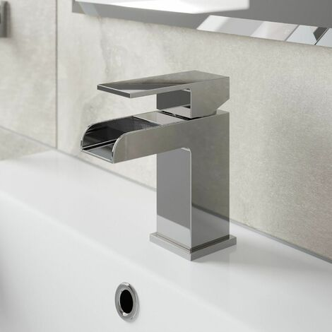 Modern Bathroom Waterfall Mono Basin Sink Mixer Tap Single Lever
