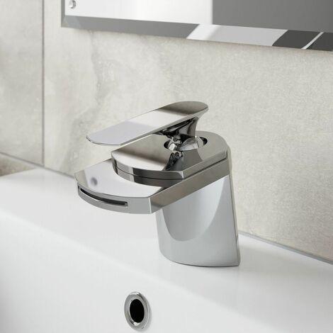 Modern Bathroom Waterfall Spout Mono Basin Sink Mixer Tap Modern Chrome Lever