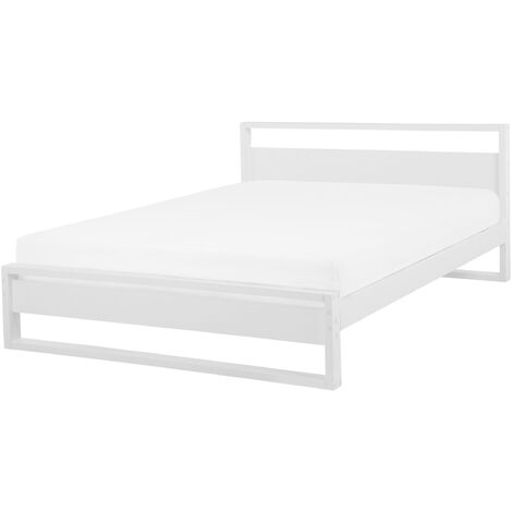 Modern Bed Frame EU King Size 5ft3 Solid Pine Wood Slatted Base White Giulia