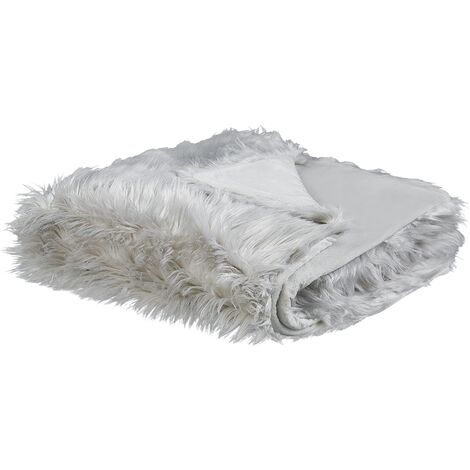 Modern Bedding Throw Polyester Fabric Shaggy Fuzzy Bedroom Light Grey Delice