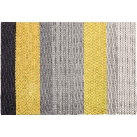 Modern Bedroom Area Rug Wool Polyester 160 x 230 cm Multicolour Stripes Akkaya