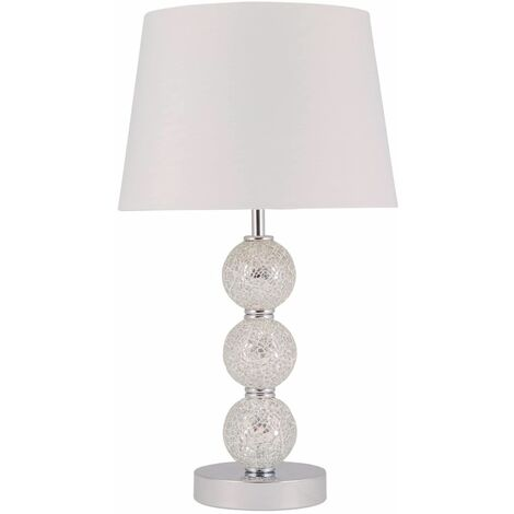 Modern Bedside Light Table Lamp with 3 Ball Mirrored Mosaic Grey or White Shade