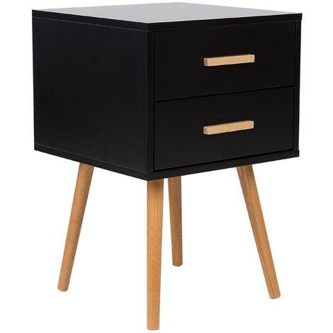 """main image of """"Modern Bedside Table Black 2 Drawer Storage Solid Wood Legs Side End Alabama"""""""