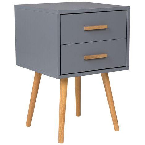 "main image of ""Modern Bedside Table Grey 2 Drawer Storage Solid Wood Legs Side End Alabama"""