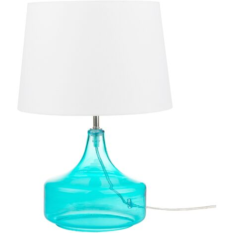 Modern Bedside Table Lamp Light Clear Glass Turquoise with White Erzen