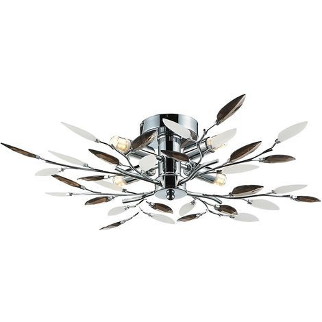 Modern Birch 4 Bulb Chrome Ceiling Light with Smoked Leaves by Happy Homewares
