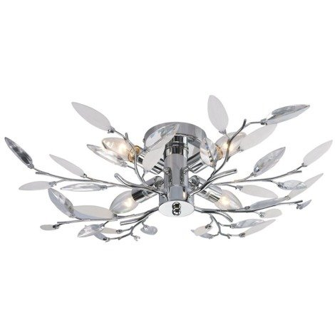 Modern Birch Semi Flush Ceiling Light with Clear & White Leaves by Happy Homewares