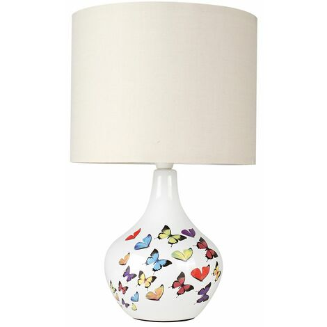 Modern Birds Butterfly Pattern Ceramic Table Lamp Fabric Lampshades