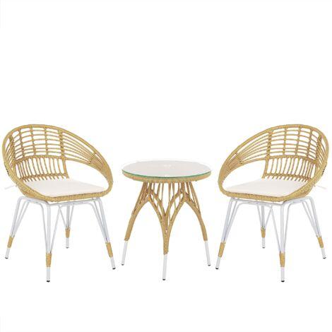 Modern Bistro Set PE Rattan White Metal Legs 2 Chairs Coffee Table Natural Pellaro