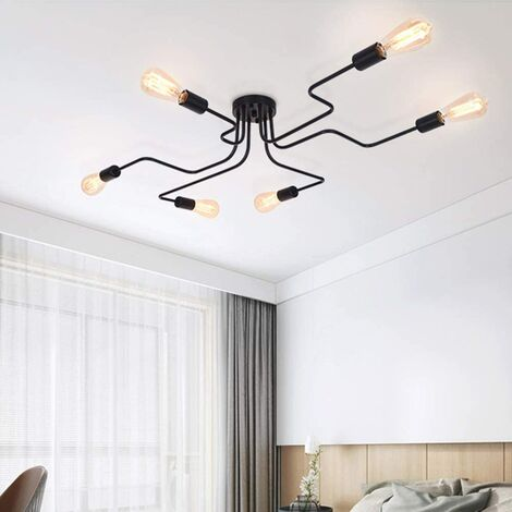 """main image of """"Modern Black Chandelier Pendant Lamp 6 E27 for Living Room Bedroom Kitchen (Without Bulbs)"""""""