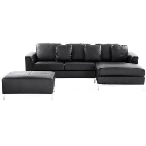 Modern Black Leather Couch Corner Sofa with Ottoman Left Hand Oslo