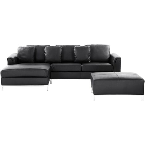 Modern Black Leather Couch Corner Sofa with Ottoman Right Hand Oslo