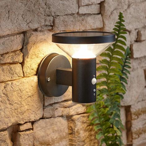 Modern Black Outdoor Garden Solar Wall Light Motion Sensor IP44 Easy Install