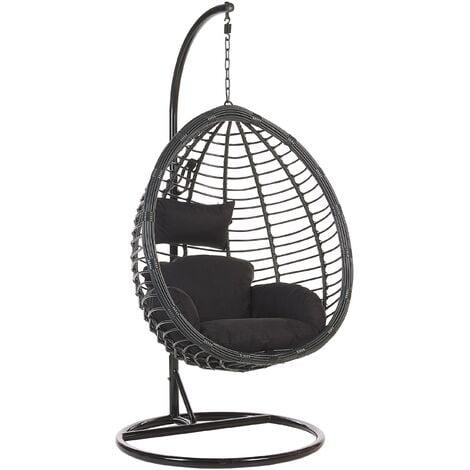 Modern Black Rattan Hanging Chair with Metal Base Indoor-Outdoor Wicker Egg Shape Tollo