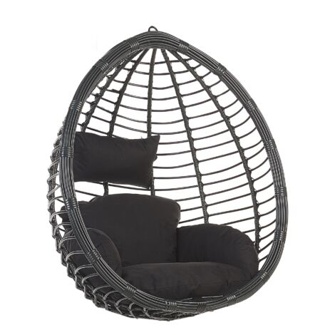 Modern Black Rattan Hanging Chair without Stand Indoor-Outdoor Wicker Egg Shape Tollo