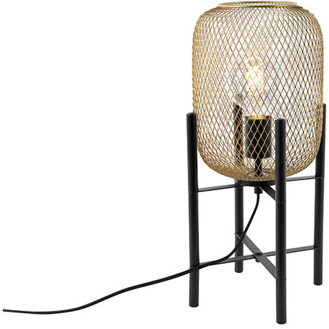 Modern black with golden table lamp - Bliss Mesh