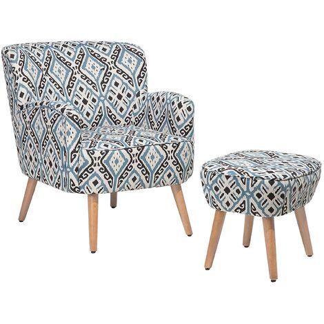 Modern Boho Armchair Footstool Set Button Slanted Legs Multicolour Pattern Tumba