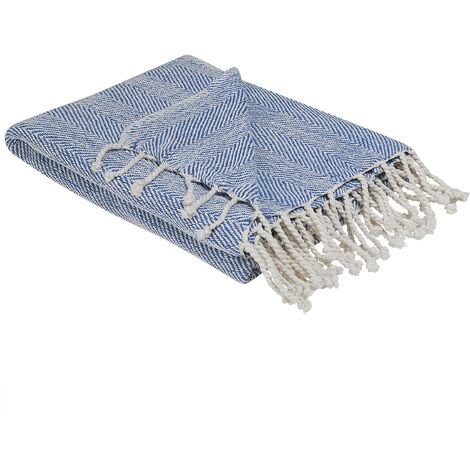 Modern Boho Coastal Seaside Throw Blanket Fringes Blue Tilmi